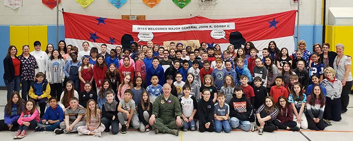 Major General John Gordy II, Commander, U.S. Air Force Expeditionary Center, JBMDL, visited the students at Manchester Township Elementary School March 21. (Photo courtesy Manchester Township School District)