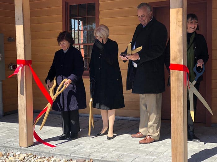 Ocean County officials cut the ribbon on the restored Cedar Bridge Tavern. (Photo by Kimberly Bosco)