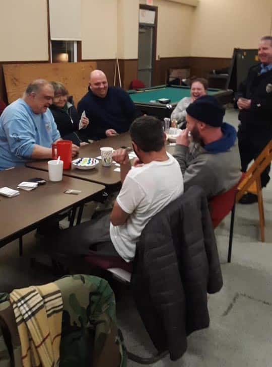 Volunteers and guests at the Riverwood Park temporary Code Blue shelter this past winter. (Photo courtesy Haven)