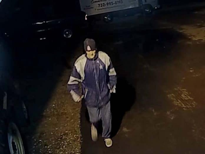 Ring security footage shows the man coming onto the property and leaving with the ladder. (Photo courtesy Jackson Township Police)
