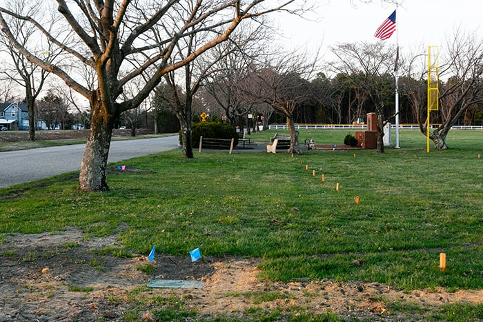 There are mark-outs for future work at the field. (Photo by Jennifer Peacock)