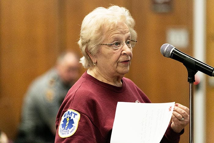 Whiting First Aid Squad member Joan Tarr addresses council. (Photo by Jennifer Peacock)