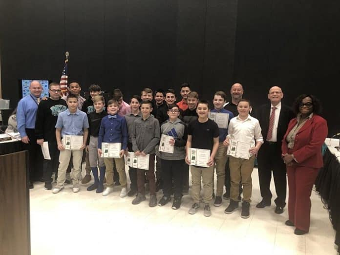 Middle School North's wrestling team was honored for becoming Wrestling Division Champions. (Photo courtesy Howell Township Schools)