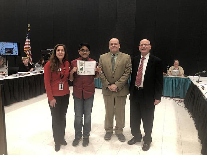 Kechav Nair was recognized for placing 1st in the state in the Elks Essay Contest. (Photo courtesy Howell Township Schools)