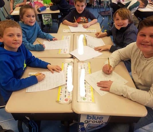 Children were encouraged to write letters to state decision makers. (Photo courtesy Toms River Regional School District)