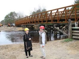 The county announced a 150-foot prefabricated weathered steel trestle was set into place recently. (Photo courtesy Ocean County)