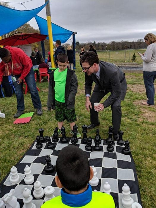 Assistant Superintendent Bruce Preston gets in on the fun with Memorial students at the Bulldog retreat. (Photo courtesy Skye Donzelli)