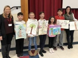 Howell Township third graders celebrated Arbor Day with members of the Shade Tree Commission on April 30. (Photo courtesy Howell Township)