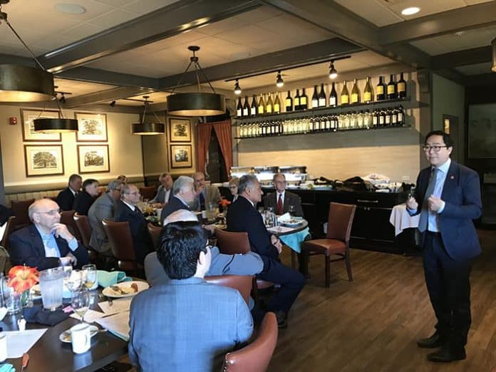 Congressman Andy Kim speaks to elected officials at the Ocean County Mayors Association meeting held at the Grove restaurant. (Photo by Chris Lundy)
