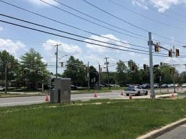 In about a month, drivers will be able to make left turns onto Hooper Avenue out of the shopping centers hosting Target and Michael's. (Photo by Chris Lundy)
