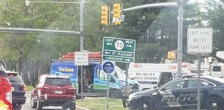 An early morning accident Friday slowed down traffic at a busy intersection in Manchester. (Photo courtesy Ocean County Scanner News)