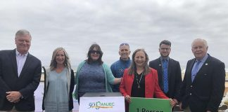 From left: Bradley Beach NJ Mayor Gary Engelstad; Helen Henderson, American Littoral Society; Jennifer M. Coffey, ANJEC Executive Director; John Weber, Surfrider; Noemi de la Puente, NJ Environmental Lobby; Zack Karvelas, Clean Ocean Action; and NJ Dist. 11 Assemblyman Eric Houghtaling. (Photo courtesy The American Littoral Society)