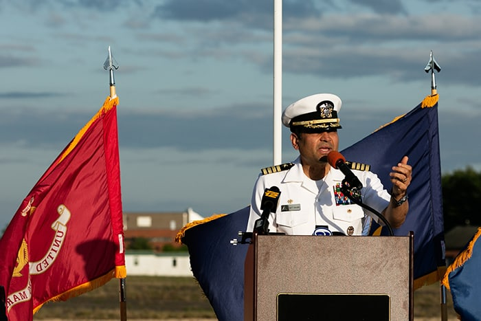 Captain Muhammad Khan offered remarks during the 82nd anniversary of the Hindenburg crash. (Photo by Jennifer Peacock)