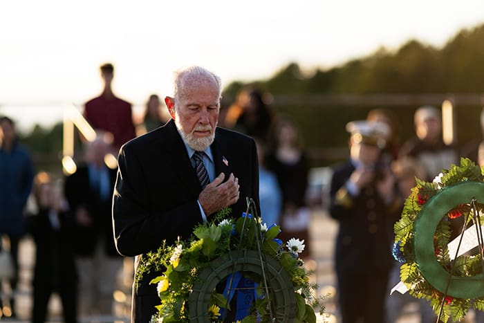 George Oglesby, Lakehurst Borough Historical Society president, presents the wreath on behalf of the society to remember those who died in the Hindenburg disaster, but also those men and women lost in Iraq and Afghanistan. (Photo by Jennifer Peacock)