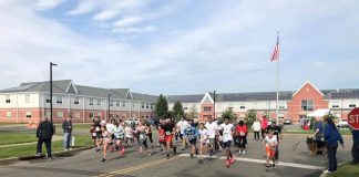 "Students and staff were putting the ""fun"" in ""fun run."" (Photo courtesy Howell Township Schools)"