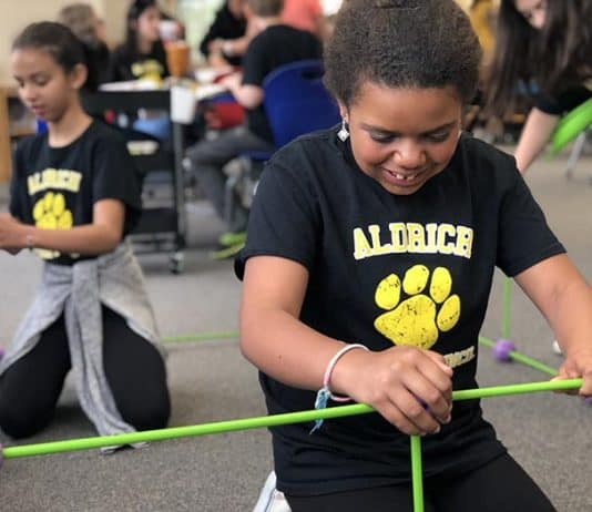 Students and staff explore hands-on alternatives to lectures in the new model classroom space at Aldrich Elementary. (Photo courtesy Andrew Smith)