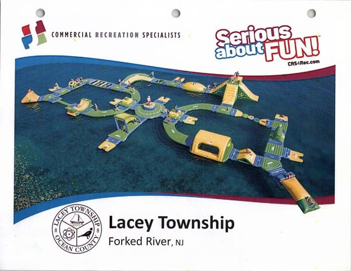 A rendering of the inflatable water park at Lake Barnegat. (Photo courtesy Lacey Township)