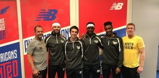Toms River High School North celebrates its sixth place finish in the shuttle hurdles relay (30.80) for All-America honors at the 2018 New Balance Indoor Nationals at the New Balance Indoor Track and Field Center in New York City. From left to right are head coach Jack Boylan, Andrew Daniluk, Kenny Warner, Abdlohe Diawara, Emeron Mayers and assistant coach Mike Barrett. (Photo courtesy of the Toms River High School North)