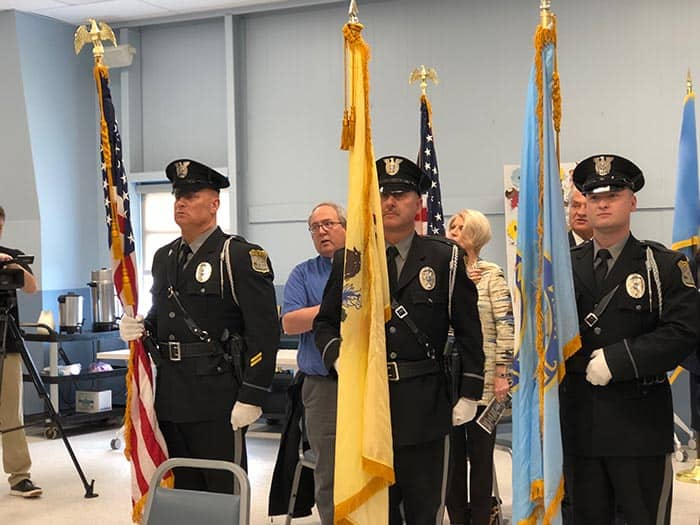 The Ocean County Sheriff's Office Color Guard performed the posting of colors at the ceremony. (Photo by Kimberly Bosco)