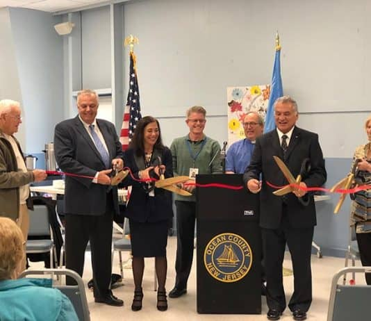 Ocean County officials cut the ribbon on the newly renovated Ocean County Southern Service Center, located at 179 South Main Street in Stafford. (Photo by Kimberly Bosco)