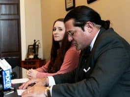 Ashley Stanfield and her attorney Robert Fuggi faced room of reporters Friday afternoon. (Photo by Jennifer Peacock)