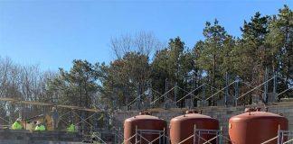 Three iron removal filters under construction. (Photo courtesy Aqua New Jersey)