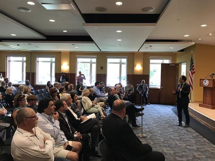 Congressman Andy Kim (D-3rd) hosted a town hall on the opioid epidemic. (Photo by Chris Lundy)