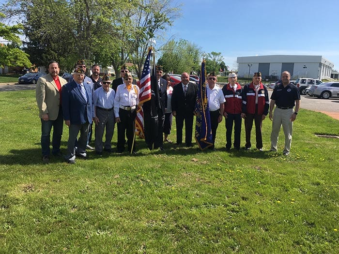 Mayor Amato, Councilmen Buscio, Bacchione and Grosse with Councilwomen Gingrich and Noonan with members of the Silver Holiday Post 10185 at an Armed Forces Day ceremony on Saturday, May 17, 2019. (Photo courtesy Carmen Amato)