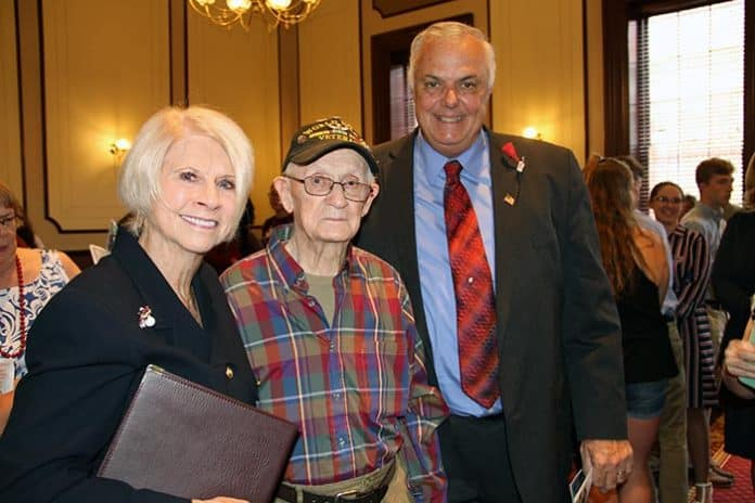 Pictured from left to right: Ocean County Freeholder Director Virginia E. Haines, Chairperson of Ocean County Cultural and Heritage Division, Tony Sercel, a former paratrooper and was a member of the 82nd Airborne during World War II and Freeholder Gary Quinn. (Photo courtesy Ocean County Freeholders)