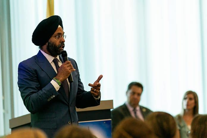 Gurbir Grewal talks to students about this journey to becoming New Jersey State Attorney General at Toms River High School North June 5. (Photo by Jennifer Peacock)