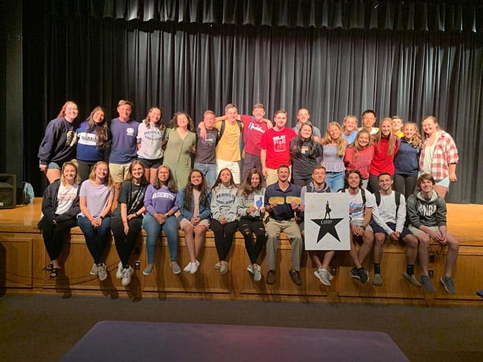 Students, mostly from Corby's two AP classes, pooled their money to buy the coveted Hamilton tickets. (Photo courtesy Thomas Corby)