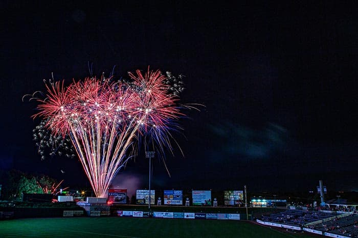 The BlueClaws annual Patriotic Fireworks Extravaganza is July 3. (Photo courtesy Lakewood BlueClaws)