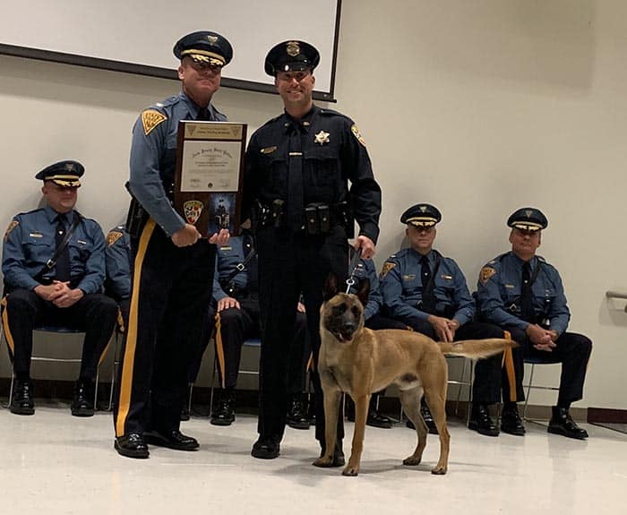 Officer Marino and Blue graduated from the New Jersey State Police K-9 Scent Class #34 on June 14, after 14 weeks of intense training in explosive detection. (Photo courtesy Monmouth County Sheriff)