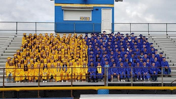 The 243-member graduating class of 2019. (Photo courtesy Manchester Township School District)