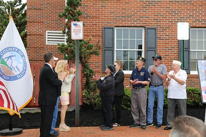 County officials unveiled the new designated veterans parking space at the Monmouth County Clerk's Office, in honor of Military Appreciation Month. (Photo courtesy Monmouth County)