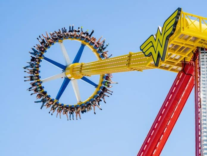 WONDER WOMAN Lasso of Truth is an oversized pendulum-shaped ride that sends guests on a dizzying journey to extreme heights. (Photo courtesy Six Flags Great Adventure)