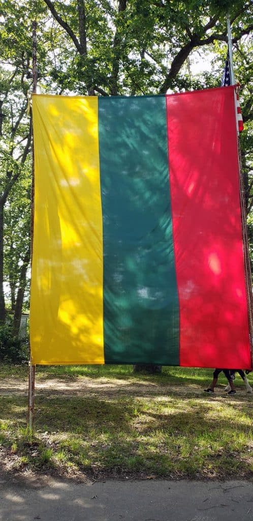 A large Lithuanian flag was hung on the grounds of the Estonian Cultural Center during the 10th Annual Lithuanian Festival. (Photo by Bob Vosseller)