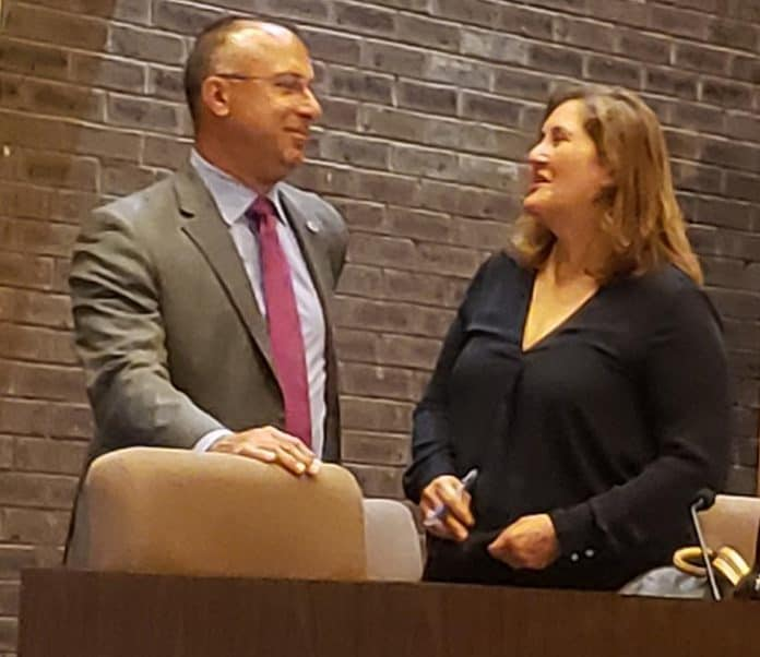 Jackson Council President Rob Nixon talks to Township Attorney Jean Cipriani moments before the start of a June 25 council meeting where the governing body voted to retain her service for the rest of the year. (Photo by Bob Vosseller)