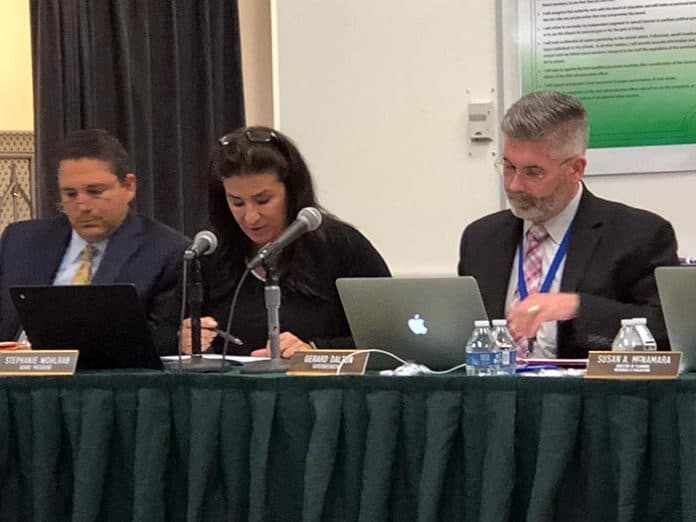 From left: Board attorney Ben Montenegro, Board President Stephanie Wohlrab, and Superintendent Gerard Dalton during the Board of Education meeting. (Photo by Judy Smestad-Nunn)