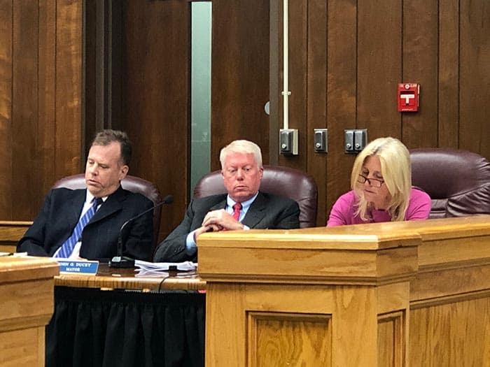 From left, township attorney Kevin Starkey, Mayor John Ducey and business administrator Joanne Bergin. (Photo by Judy Smestad-Nunn)