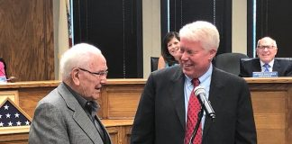 Mayor John G. Ducey honored Brick resident of over 30 years, Tom Kaczmarek, with a key to the city and a proclamation. Kaczmarek has served as a boxing judge for many notable fights, including Sugar Ray Leonard vs. Tommy Hearns II, Evander Holyfield vs. George Foreman, Lennox Lewis vs. Vitaly Klitschko and Oscar De La Hoya vs. Floyd Mayweather. He was also inducted into the NJ Boxing Hall of Fame recently in Atlantic City, which the mayor attended. (Photo by Judy Smestad-Nunn)