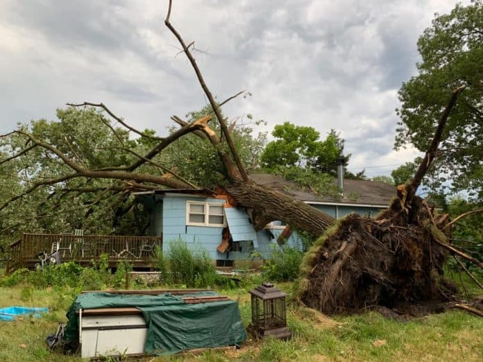 The July 22 storms brought down wires and trees throughout Howell. (Photo courtesy Howell Township Police Department)