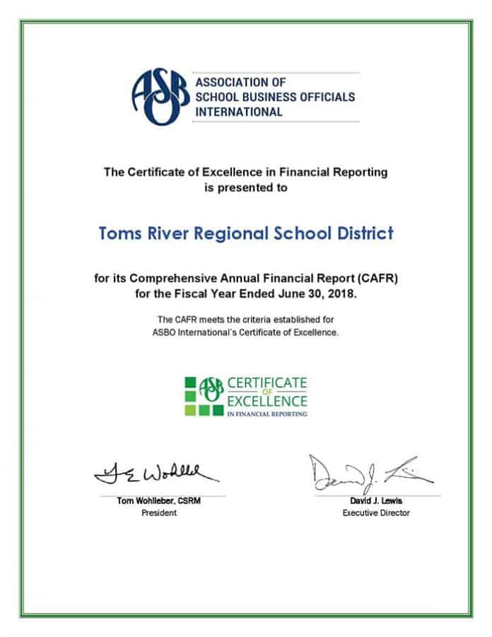The school district was recently awarded the Certificate of Excellence in Financial Reporting (COE) for the fifth time by The Association of School Business Officials International (ASBO). (Photo courtesy Toms River Regional School District)