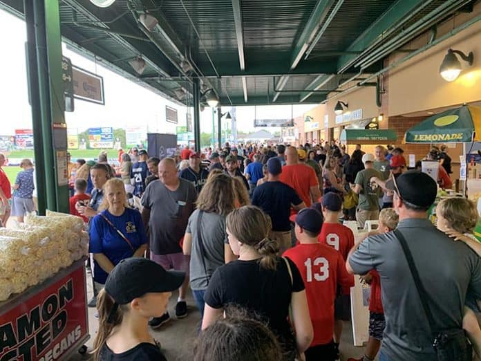 The packed house at First Energy Park in Lakewood for Military Appreciation Night. (Photo courtesy Think Media Communications)