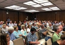 It was a crowded meeting as the Board of Adjustment discussed the proposed banquet hall. (Photo by Judy Smestad-Nunn)