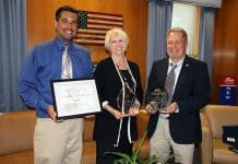 Displaying some of the awards garnered by the design and redevelopment of the John C. Bartlett Jr. County Park at Berkeley Island are from left to right, Joseph A. Pirozek, Ocean County Department of Parks and Recreation, Ocean County Freeholder Director Virginia E. Haines, Chairwoman of the Ocean County Department of Parks and Recreation and Michael T. Mangum, Director of the Ocean County Department of Parks and Recreation. (Photo courtesy Ocean County)