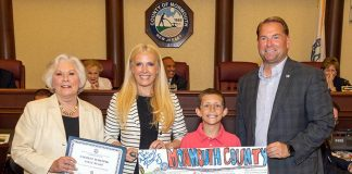 First place winner Emmitt Whiting of Brielle Elementary School with, from left to right, Surrogate Rosemarie D. Peters, Clerk Christine Giordano Hanlon and Sheriff Shaun Golden. (Photo courtesy Monmouth County)