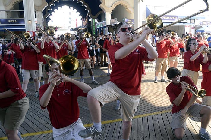 The Jackson Liberty Marching Band took to the big stage at the Hard Rock Hotel & Casino on the Atlantic City Boardwalk recently. (Photo courtesy Jackson Liberty Marching Band)