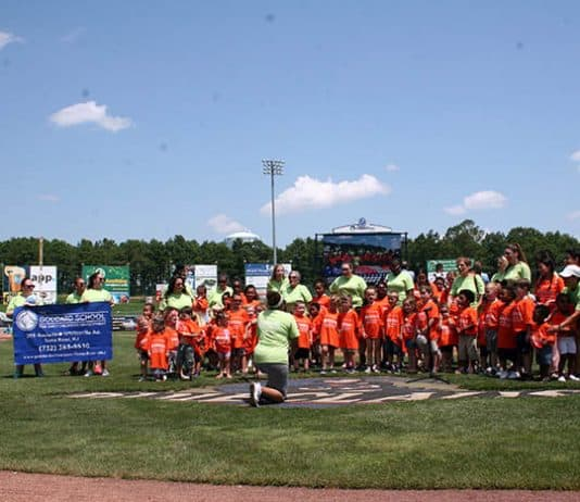 The students sang the national anthem, an annual tradition. (Photo courtesy The Goddard School of Route 70)