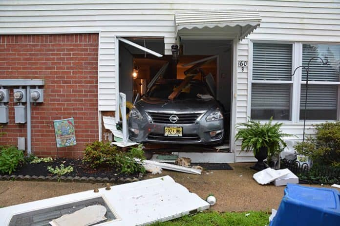 A car crashed into a Columbine Avenue home Thursday night, Manchester Township Police said. (Photo courtesy Manchester Police)